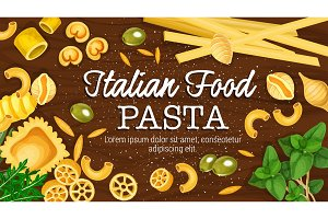 Italian pasta on board vector poster