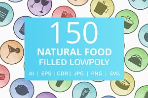 150 Natural Food Low Poly Icons