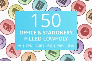 150 Office & Stationery LowPoly Icon