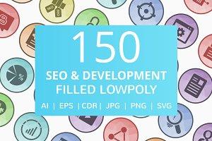 150 SEO & Development Low Poly Icons