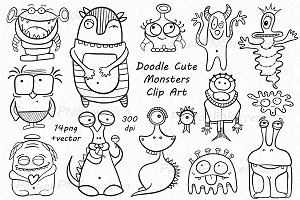 Doodle monsters clipart