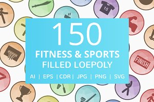 150 Fitness & Sports Low Poly Icons