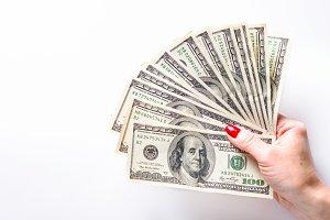 Woman hold cash money dollars