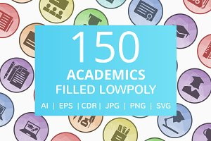 150 Academics Filled Low Poly Icons