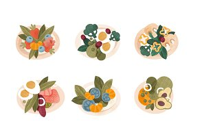 Various vegetable salads set