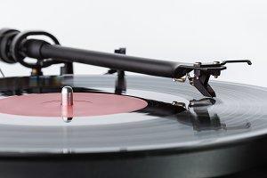 Needle on vinyl record.