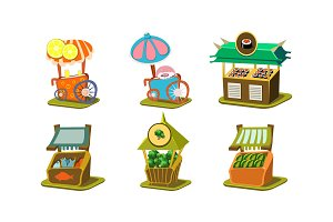 Flat vector set of stalls with