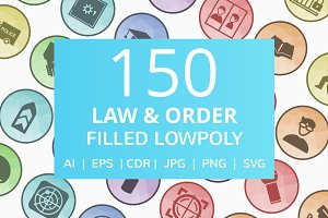 150 Law & Order Filled LowPoly Icons