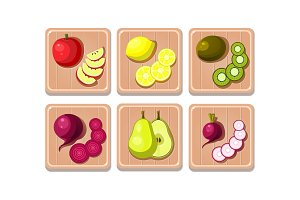 Flat vector set of fruits and