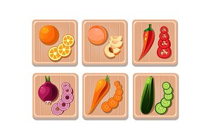 Flat vector set of vegetables and