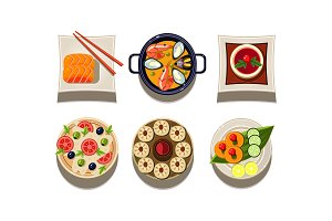 Flatvector set of plates with tasty