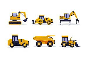 Flat vector set of heavy machinery