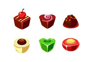 Flat vector set of chocolate and
