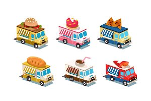 Flat vector set of food trucks