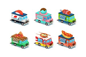 Set of food trucks in modern 3D
