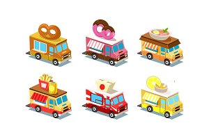 Flat vector set of isometric food