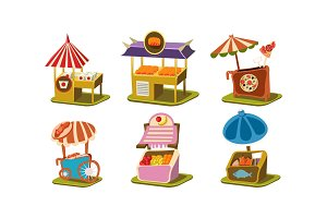 Flat vector set of stalls with fast