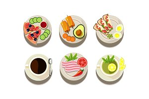 Flat vector set of food and drink