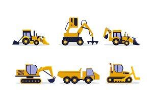 Flat vector set of construction