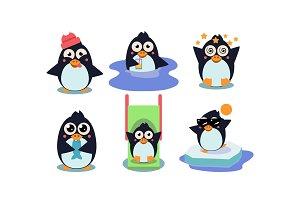 Flat vector set of cute penguin in
