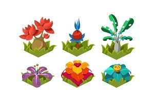 Flat vector set of fantasy plants
