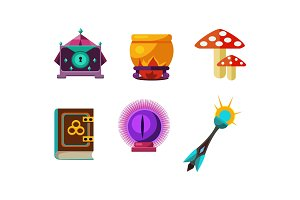 Flat vector set of magic items