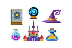 Flat vector set of fabulous items