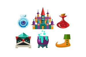 Set of cartoon magic objects