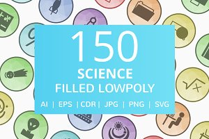 150 Science Filled Low Poly Icons