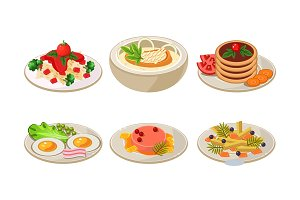 Flat vector set of plates with