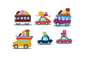 Flat vector set of colorful cars