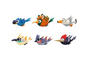 Cute cartoon flying birds set