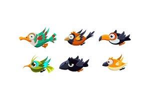 Cute cartoon colorful flying birds