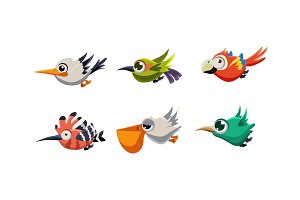 Cute cartoon colorful exotic flying