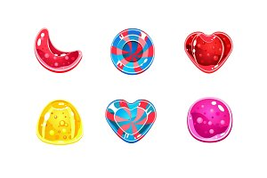 Glossy candies set, sweets of