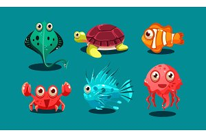 Sea creatures set, cute funny