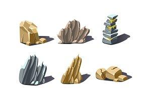 Stones of various shapes set, rocks