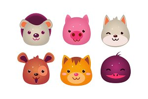 Heads of cute animals set, bear