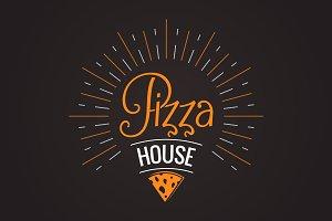 Pizza logo on black background