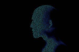 human with binary data code number o