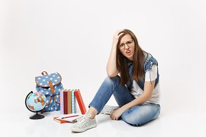 Young dissatisfied upset woman stude
