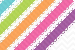 Scallop Ribbon Borders 45 Colors