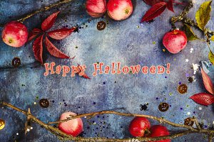 Halloween background with apples