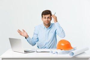 Serious man businessman or engineer