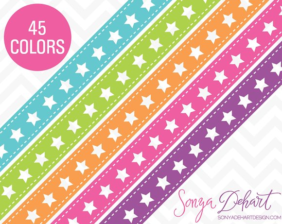 Star Ribbon Borders 45 Colors