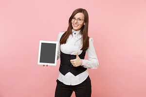 Young business woman in glasses hold