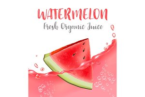 Watermelon juice. Fresh fruit, 3d