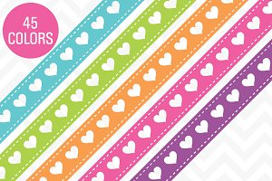 Heart Ribbon Borders 45 Colors