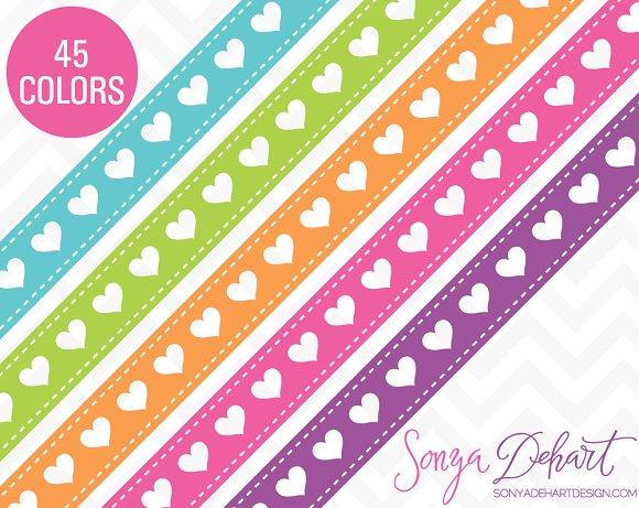 Heart Ribbon Borders 45 Colors