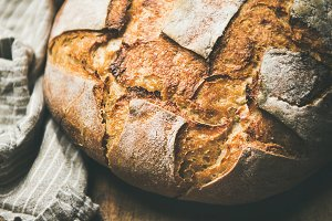 Sourdough wheat bread over rustic